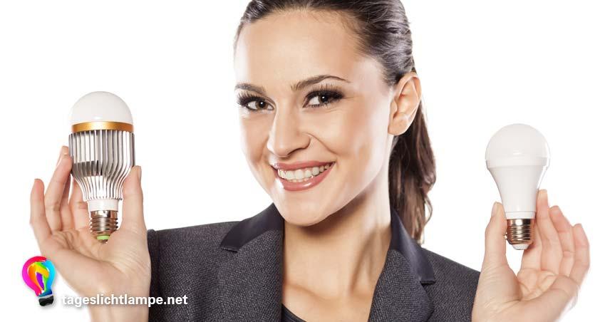 lächelnde Frau hält eine Tageslichtlampe mit LED in jeder Hand.