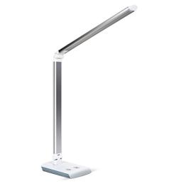 Kleine Tageslichtleuchte für den Schreibtisch. Silberner eckiger Standfuße mit rechteckigem Stab, der in der Mitte geknickt ist.
