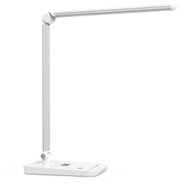 Weiße Tageslichtlampe für den Schreibtisch - eine Stabähnliche Lampe mit 3 Gelenken, die man auf den Schreibtisch stellen kann in Weiß