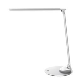 Dünne Tageslichtlampe aus Metall für den Schreibtisch mit mittig zum knicken auf rundem Fuß montiert