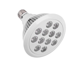 Tageslichtlampe Leuchtmittel - Glühbirne in weiß mit kleinen LED Öffnungen vorne.