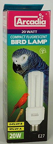 Verpackung einer Tageslichtlampe für Vögel, mit abbildung der Leuchtstoffröhre und eines bluen Vogels im Hintergrund