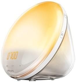 Runde Tageslichtlampe Wecker mit Radio - gelbe Scheibe vor runder Röhre von Philips